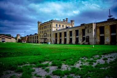 a large abandoned castle-like prison