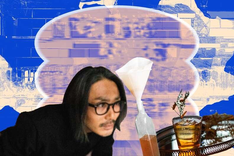 Shige Kabashima milk washing his Apple Pie cocktail.