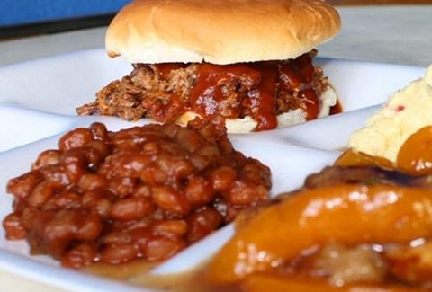BBQ sandwich with side of baked beans