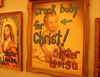 "Picture of a baby with the text ""Crack Baby for Christ"""