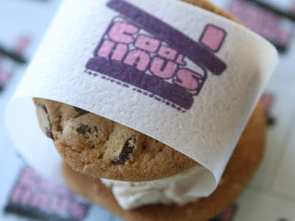 A Coolhaus cookie ice cream sandwich