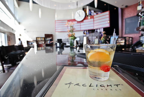 Lobby and cocktails at ArcLight Theater in La Jolla