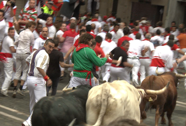 Two heroes turn running with the bulls into savage art
