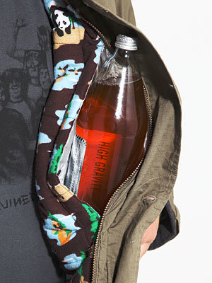 A winter coat for smuggling beer