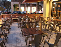 The outdoor seating