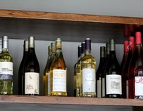 Shelf of bottled wine