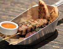 Ground lamb on a stick