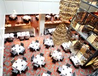 An overhead shot of Del Frisco's dinning room.
