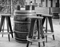 Tables and barrels at Thorn St Brewery