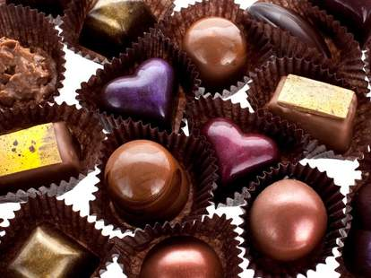 A box of heart-shaped chocolates.
