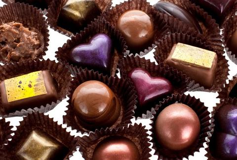 A box of heart-shaped chocolates.