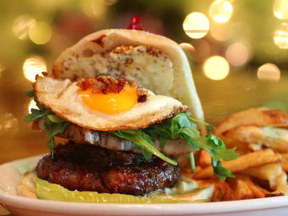 Burger with egg at Penny Lane in San Diego