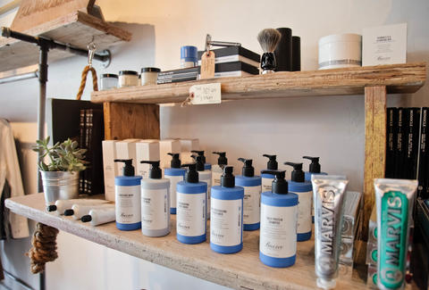Men's grooming products at Aloha Sunday in San Diego