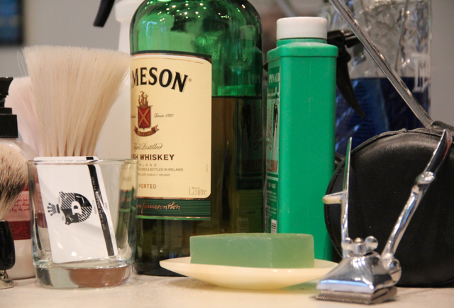 A straight razor shave (and some whiskey)