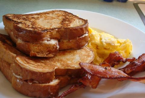 French toast, bacon, and eggs at The Shed at Glenwood