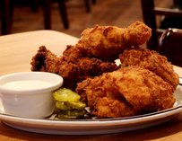 Buttermilk fried chicken w/ side of Alabama white lightning sauce
