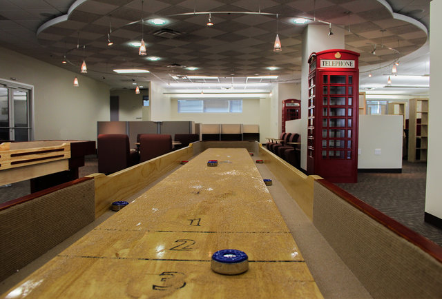 A place to work... with shuffleboard