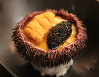 A prickly sea urchin with white sturgeon caviar, Maine uni, and scrambled eggs