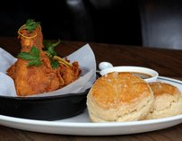 Edith's Fried Chicken w/ buttermilk biscuits & sesame-honey sauce