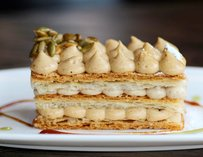 Spiced pumpkin mille feuille topped with star anise caramel
