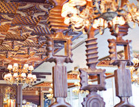 The ceiling and wood carvings inside La Tagliatella