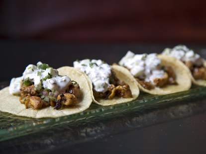 Tacos with crema.