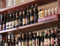 Collection of bottled beers at Beer
