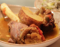 Lime & tumeric-marinated lamb shank w/ potatoes
