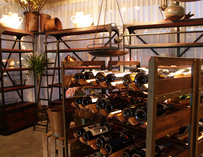 A wine rack and shelves