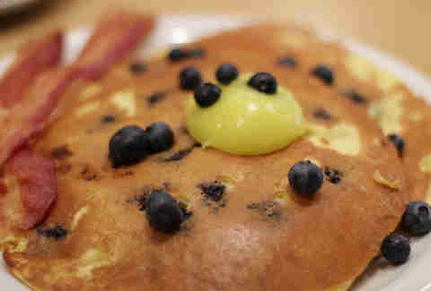 Blueberry pancakes at Reveille Cafe