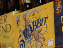 A 5 Rabbit beer six-pack