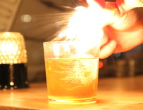 A cocktail on fire... literally