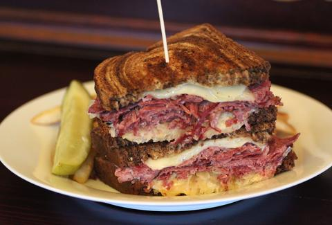 Corned beef sandwich at A Terrible Beauty in Seattle