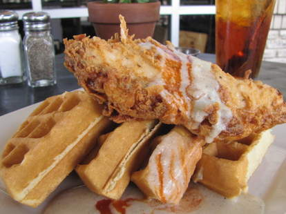 Chicken and waffles at Bread Winners