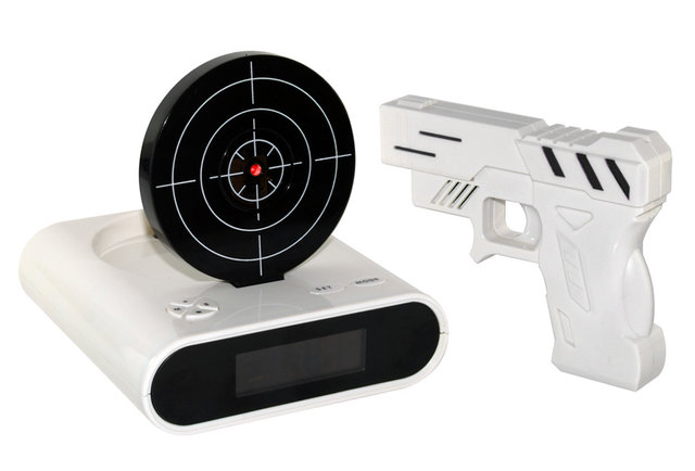 Finally, an alarm clock you can shoot at Elvis style