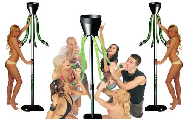 A standing beer bong with six funnel tubes
