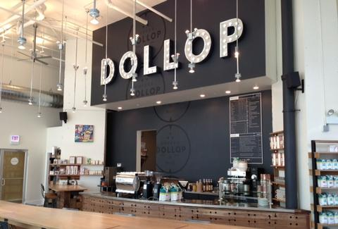 The counter at Dollop Cofee & Tea Co.