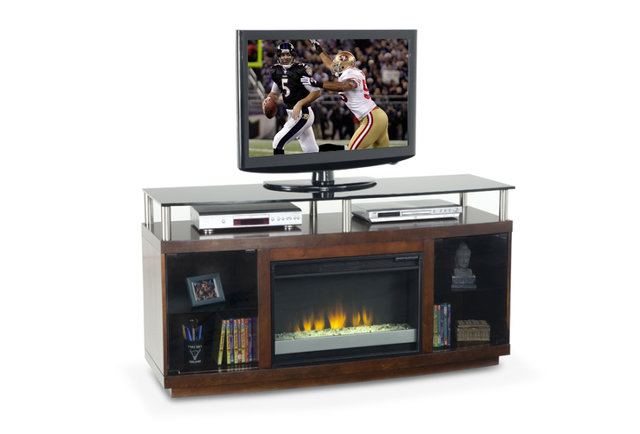 A fireplace for your TV that doesn\'t need a chimney sweep
