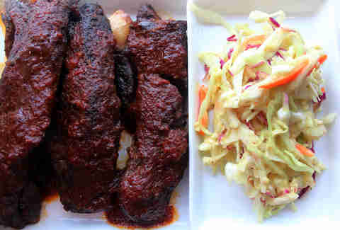 Beef short ribs and cole slaw