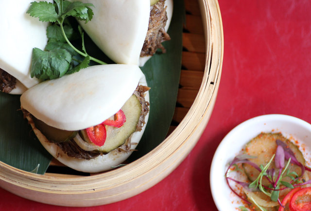 Taro chip nachos and steamed duck buns, just in time for the Chinese New Year