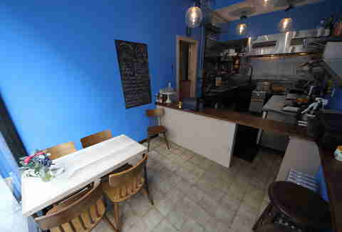 The very blue interior at ChipShop