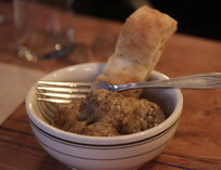 Naked meatballs served with focaccia