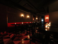 A dark bar interior