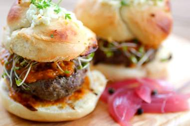 Lamb sliders on soft yeast rolls at The Local House