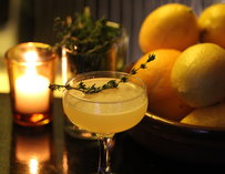 A lemon and thyme cocktail