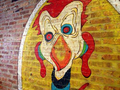 A chicken mural