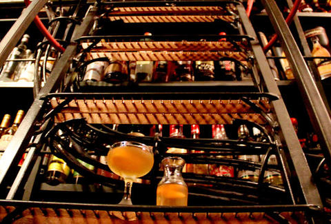 Cocktail and liquor rack at Hop Sing's Laundromat