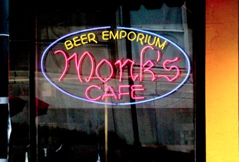 Neon sign at Monk's Cafe