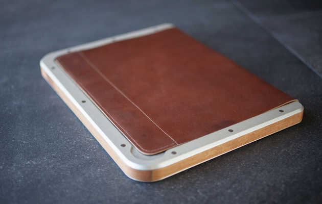 Metal, leather, and wood in one manly iPad case