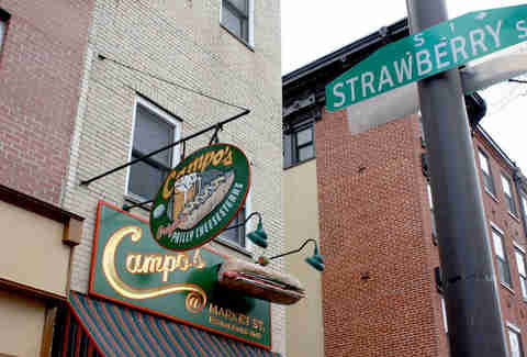 The corner of Strawberry St outside Campo's Deli